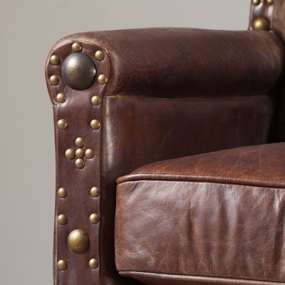 Brico Armchair Leather Vintage Cigar