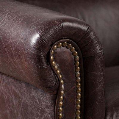 Cambridge Armchair Leather Biker Dark Brown