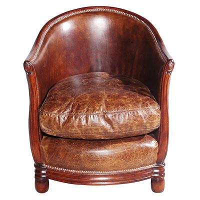 Deco Tub Chair Leather Vintage Cigar
