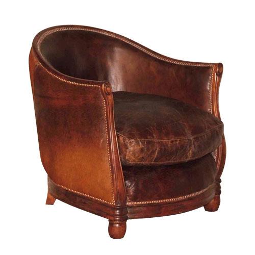 Deco Tub Chair Leather Vintage Cigar & Brown/White Moo