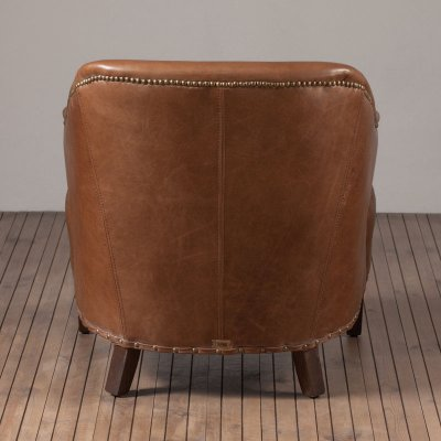 Franco Chair Leather Old Saddle Nut
