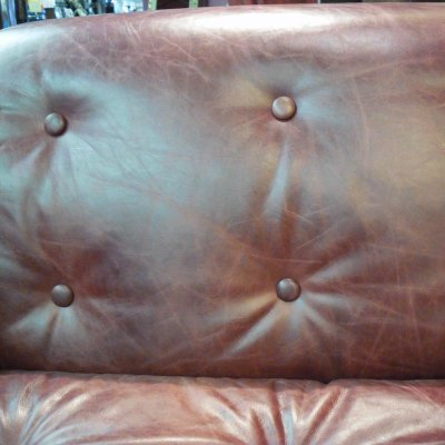 Metro 1 Seater Leather Library Red