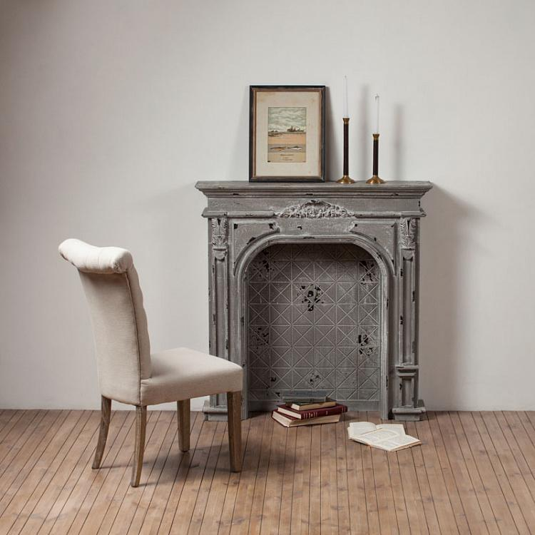 Деревянный декоративный камин с серой патиной Wooden Fire Place Grey Patina