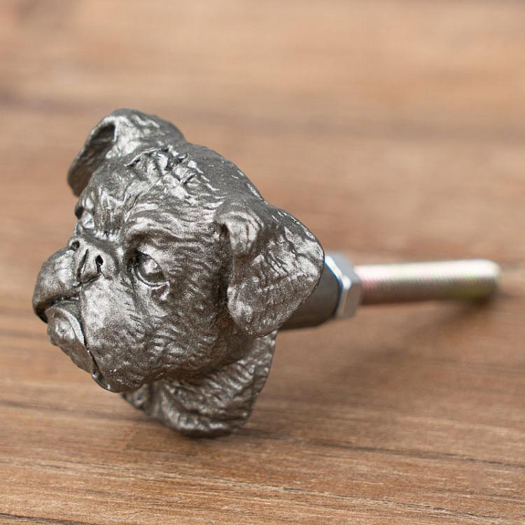 Мебельная ручка Бульдог Pewter Knob Dog Head